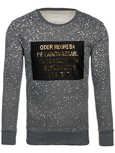 BOLF Herren Sweatshirt mit Rundhalsausschnitt Langarmashirt Rundhals Print Motiv J.STYLE DD112 Dunkelgrau XXL [1A1] |