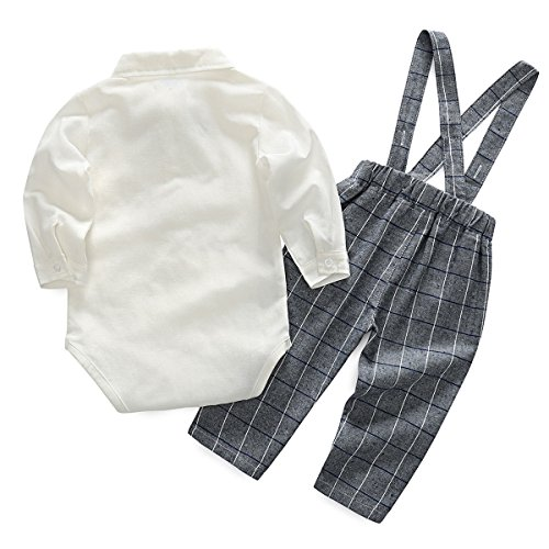 Feoya Jungen Outfits langarm Frühlinganzug Fliege Taufanzug Baby Baumwolle Hemd Hose Set Hochzeit Anzug 6-9 Monaten - 2