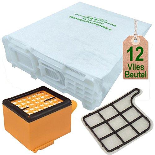 12 Staubsaugerbeutel und Filter Set passend für Vorwerk Kobold VK 135 und VK 136