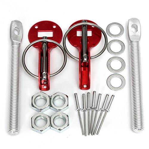 GOZAR Universal Legierung Mount Bonnet Hood Pin Pins Lock Latch Kit Rennrad Motorrad-Rot