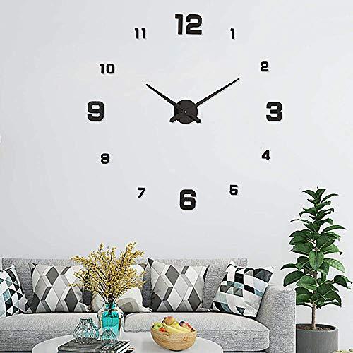Ubaymax orologio da parete adesivo,3d wall clock,large watch orologio modern per soggiorno camera da home decoration (nero)
