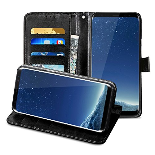Galaxy S8 Plus Leather Case, Orlegol Flip Leather Wallet Samsung Galaxy S8 Plus Phone Case Premium Wallet Case with Stand Cover Magnetic Button Bumper Case for Samsung Galaxy S8 Plus Book Case Cover