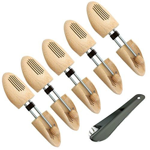 Unbekannt Langlauf Schuhbedarf 5 Paar Naturholz Schuhspanner Spiralspanner Gr. 42-43 & Schuhanzieher Sparpaket für Preisbewusste