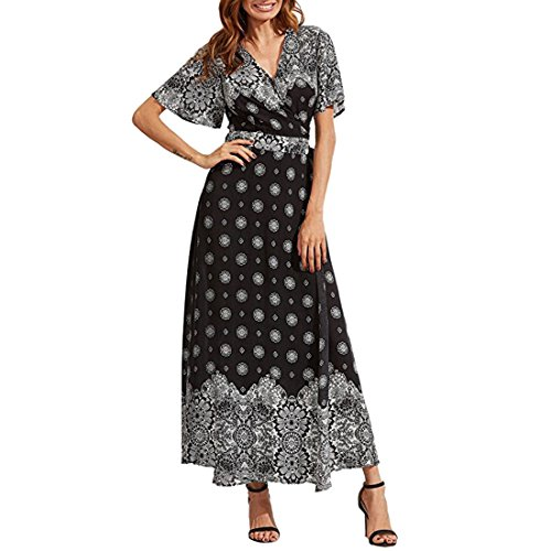 QIYUN.Z Les Femmes V-Cou Empire Bohème Empire Taille Robe Sundress Maxi Envelopper Couvrir Noir