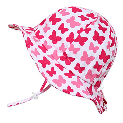 Atmungsaktiver Sonnenhut fürs Baby (Mädchen) 50 UPF, verstellbar, mit Kinnriemen, zusammenfaltbar (Mittel: 6-30m, Schlapphut: Schmetterling)
