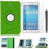 grün PU Leder Schutz Hülle 360° drehbar Case für Samsung Galaxy Tab 3 7.0(7 Zoll) T210/T211 Lederhülle Tasche Flip Cover Etui Grün Schutzhülle mit Schwenkbar flexiblem Ständer + Displayschutzfolien und Stylus