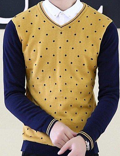 XX&GX v collare pullover uomo coreano maglione sottile , yellow , m
