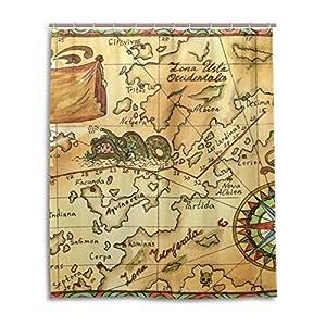 COOSUN – Juego de cortina de ducha con diseño de mapa pirata con rosas de viento, tela de poliéster repelente al agua, decoración del hogar con ganchos, 152 x 183 cm