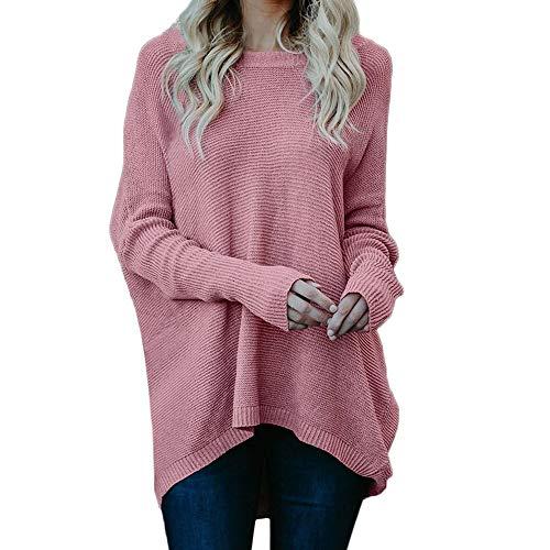 Damen Strickpullover,TWBB O-Ausschnitt Lose Pullover Einfarbig Sweater Lange -