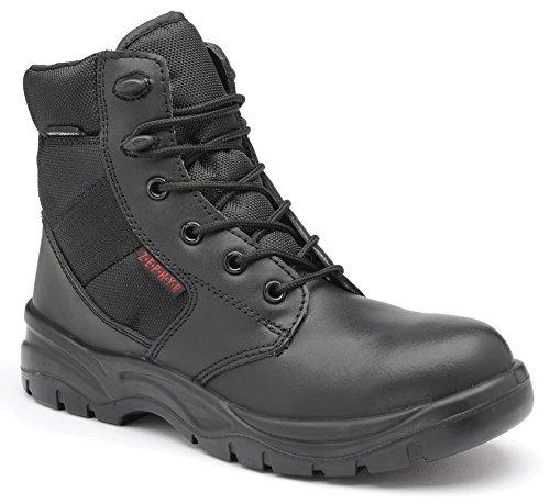 c43f905046e Zephyr Z006 Waterproof Black Leather Mid Leg Metal Free Security Combat  Boots (UK 5)