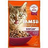 Iams Delights Senior Huhn in Sauce, Nassfutter für ältere Katzen ab 7 Jahre, Probiergröße, Einzelbeutel (85 g)