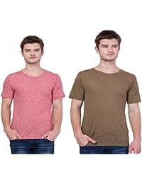 Aero Men's Round Neck Stylish T-shirt Combo ( Pink & Light Brown )