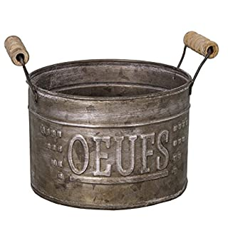 Antic Line - Zinc egg basket Oeufs with wooden handles