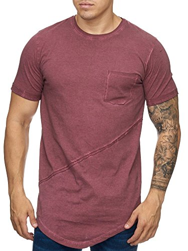 Cabin Oversize Herren Vintage Mix Rundhals T-Shirt Washed Basic 9032 Rot