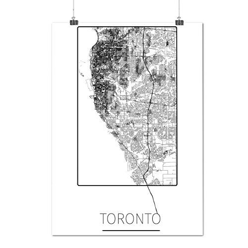 Kanada Toronto Stadt Stadt Karte Mattes/Glänzende Plakat A3 (42cm x 30cm) | Wellcoda