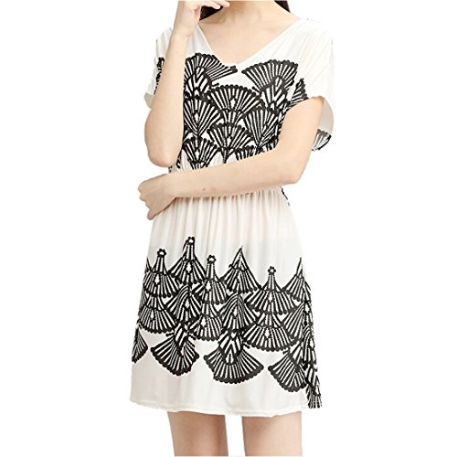 QIYUN.Z -Forme D'eventail a Manches Courtes Decollete En V Imprime Femmes ete Decontracte Nouvelle Robe Lache Blanc