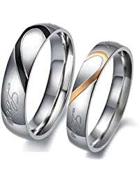 Peora Silver Stainless Steel Lovers Heart 'Real Love' Rings for Boys and Girls