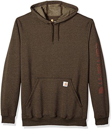 Carhartt Men's Big & Tall Midweight Signature Sleeve Logo Hooded Sweatshirt, Dark Coffee Heather, 3X-Large Carhartt Logo Hooded Pullover Sweatshirt