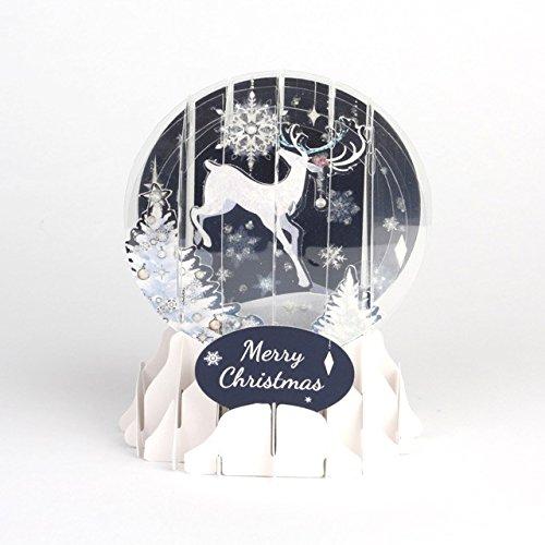 Pop Up 3D Weihnachten Schneekugel Grußkarte PopShot Rentier in der Nacht 9x13cm (Rentier-schneekugel)