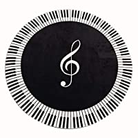GFF Carpet Chinese Round Carpet, Keyboard Piano Notes Printed Carpet - for Piano Piano Bench Triangle Piano Room Music Room Study Room (Size: 180 cm)