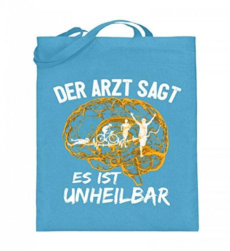 Hochwertiger Jutebeutel (mit langen Henkeln) - Triathlon - Es ist unheilbar Hellblau