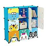 Koossy Stufenregal Bücherregal 9 Fächer Spielzeugschrank für Arbeitszimmer und Kinderzimmer, 106 x 35 x 106 cm Blau