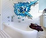 HALLOBO Wandaufkleber Delphin 3D XXL Wandsticker Sticker Meer Unterwasserwelt Delfine Wand Aufkleber Decal abnehmbar Sticker Wohnzimmer Schlafzimmer Kinderzimmer Küche Bad Versand aus Deutschland