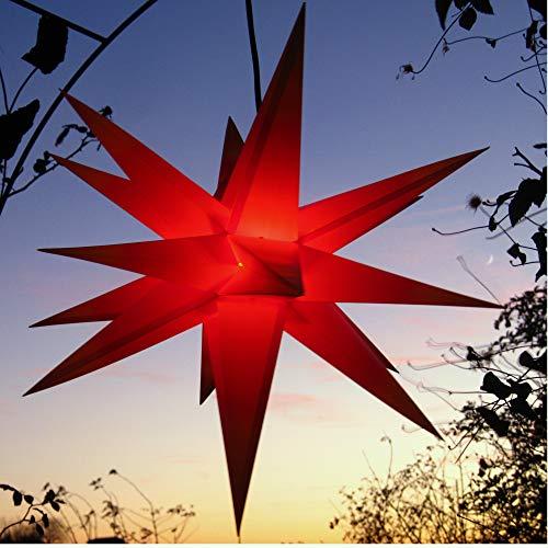 Mit LED (auswechselbar) Außenstern Stern rot, ca. 55 cm, wetterfest, im Set mit Kabel, ink. LED-Leuchtmittel (StaRt-NDL-DUH-E14-3,5W) 104 Dioden - kein störanfälliger Trafo nötig!