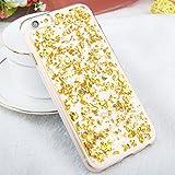 iPhone 6 / 6s TPU Glitzer Hülle   Glitter Schnipsel Folie Optik Design Schutzhülle   Crystal Case mit Glitzer Flocken Bling Bling Muster   Movoja   iPhone-6 gold