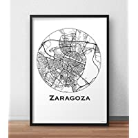 Cartel Zaragoza España Minimalista Mapa - City Map, decoración, ...