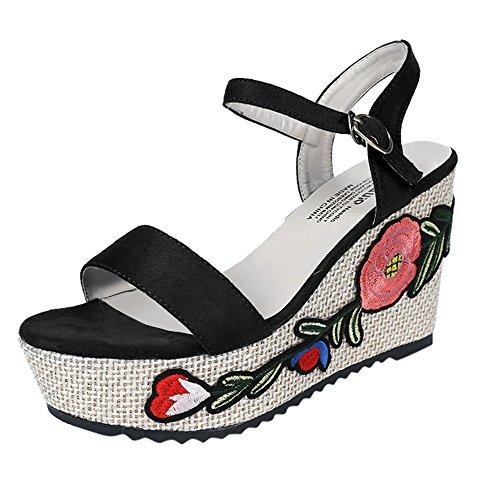 525f4b9c Sandalias Mujer, ZARLLE Sandalias De Mujer Color SóLido Bordado Talón  Grueso Ante Zapatos De Tacón