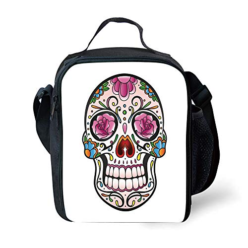 ZKHTO School Supplies Sugar Skull Decor,Spooky Sugar Skull with Pink Roses Twigs Blooms Teeth Smile Halloween Decorative,Multicolor for Girls or Boys Washable (Tote Lady Pink Halloween)