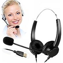 telpal con cable manos libres Call Center cancelación de ruido con cable auriculares auricular con micrófono Mircrophone–Cable con conector USB, control de volumen