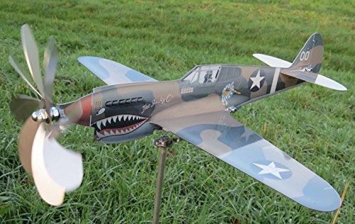 maxflite.de P 40 Kittyhawk aereo; ruota vento; acciaio inox; elica girare; giardino decorazione; carrillon di vento