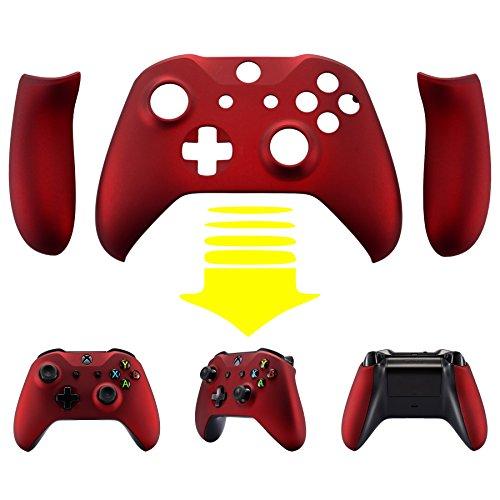eXtremeRate Schutzhülle Soft Touch Obere Case Hülle Cover Schale Gehäuse mit 2 Seitenteilen für Xbox One S/Xbox One X Controller(Rot)