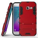 Roreikes Samsung Galaxy A5 (2017) Hülle, Rüstungs Series Hülle Silikon Stoßfest Case mit Ständer Schutzhülle für Samsung Galaxy A5 (2017) - Rot