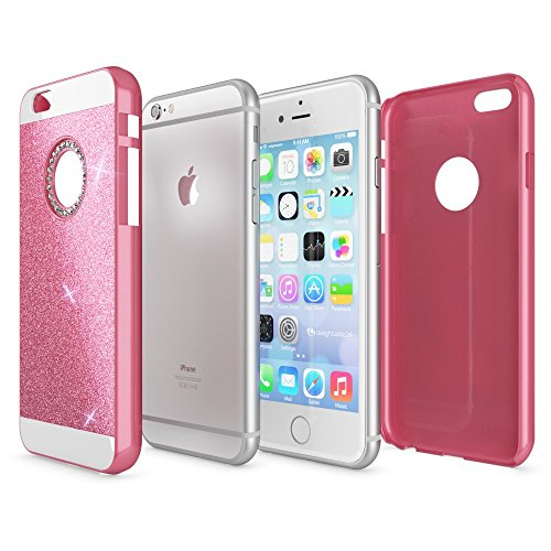 iPhone 6 6S Hülle Handyhülle von NICA, Glitzer Slim Hard-Case Back-Cover Schutzhülle, Handy-Tasche im Glitter Design, Dünnes Bling Strass Etui Skin für Apple iPhone-6S 6 Smart-Phone, Farbe:Gold Pink