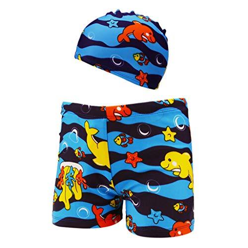 BURFLY Baby Boy niedlichen Cartoon drucken Badehose Strandhosen surfen Hosen + Badekappe zweiteilig