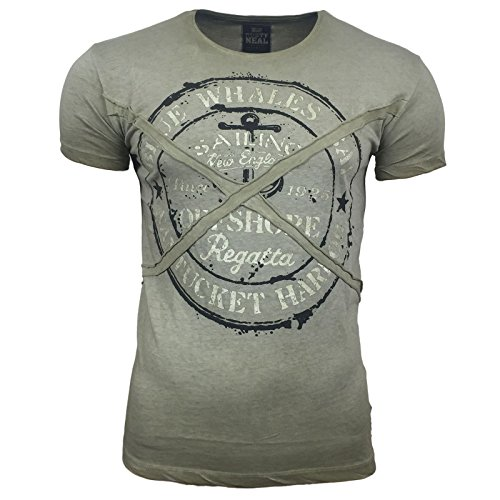 R-NEAL Clubwear Kurzarm Herren Rundhals T-Shirt Washed Optik Shirt RN-16728 NEU Khaki