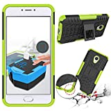 Chevron Tough Hybrid Armor Back Cover Case with Kickstand for Meizu M3 Note (Green)