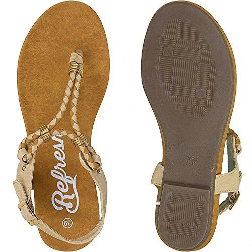 Refresh sandals women flip flops sandales pour femme Noir - Camel