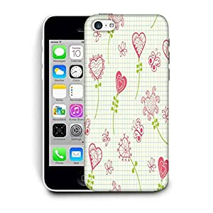 Snoogg Hearts And Butterflier Printed Protective Phone Back Case Cover For Apple Iphone 5C