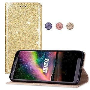EATCYE Hülle für Galaxy J8 2018, Bling Glitter Sparkle Case Leichtgewicht Handyhülle mit Kartensteckplätzen Magnetverschluss Hülle für Samsung Galaxy J8 2018 (Gold)