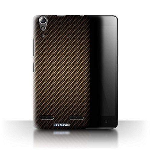 Stuff4 Hülle / Hülle für Lenovo A6000+/Plus / Gold Muster / Kohlenstoff-Faser-Muster Kollektion