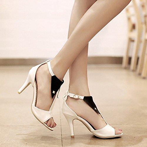 COOLCEPT Damen Mode T-Spangen Sandalen Peep Toe Stiletto Schuhe White