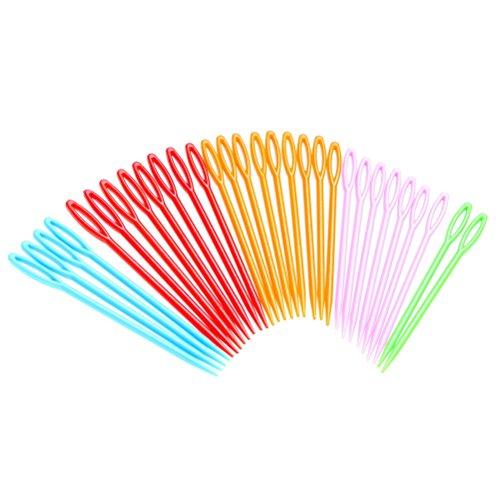 Wowot, 30 x Nähnadeln aus Kunststoff in bunten Farben für Bastel- und Nähprojekte mit Kindern, 9 cm