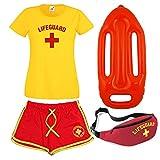 Damen Rettungs-T-Shirt, Shorts, Bauchtasche und Schwimmer, 4-er Set Gr. XXL, gelb/rot