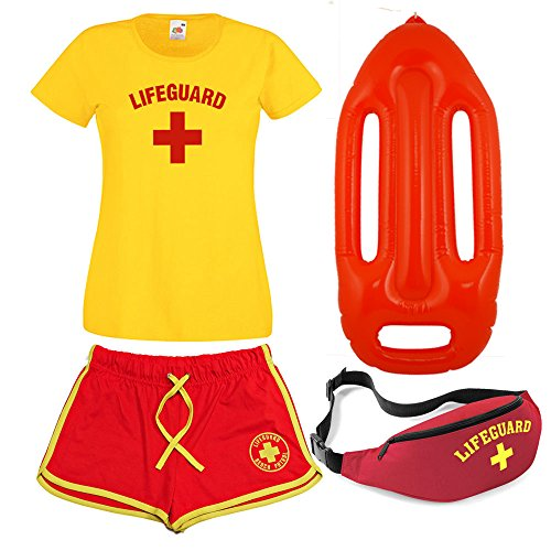Ladies Complete Lifeguard Costume - T-shirt, Shorts, Float, Bum Bag - S to 2XL