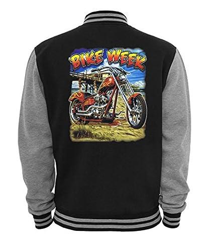 Ethno Designs Bike Week - Men`s Biker Varsity Jacket - Old School Rockabilly Vintage Shirt Retro Style - navy/sportsgrey, size