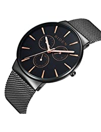 Armbanduhr, Herren Uhren, Edelstahl schwarz klassischen Luxus Business Casual Uhren wasserdicht multifunktional Quarz Milanaise Mesh Band Armbanduhr